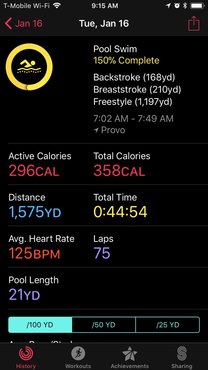 Second swim workout